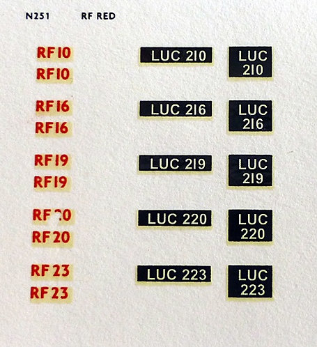 Red RF10, RF16, RF19, RF20, RF25