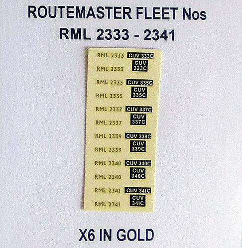 Gold RML 2333, 2335, 2337, 2339, 2340, 2341