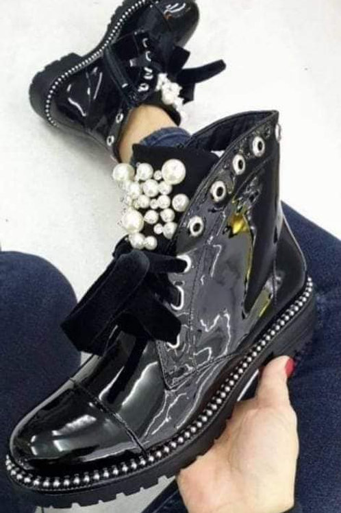 Women's Black Lace Up Boots