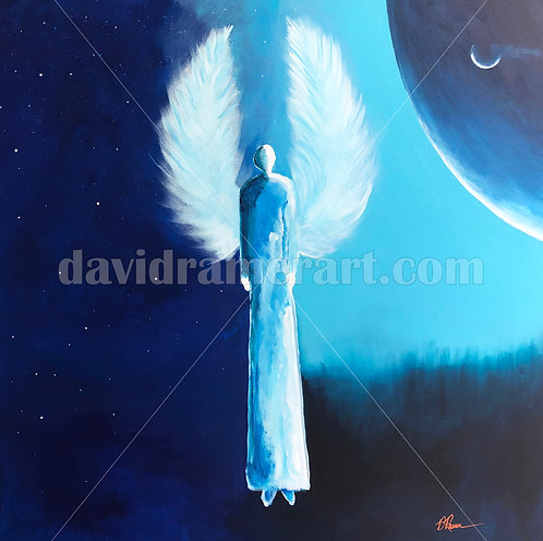 """Cosmos Authority Angel"" (36x36x1.5"") original acrylic on canvas"