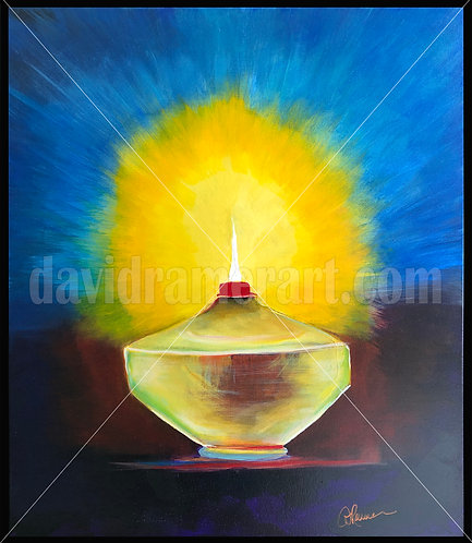 "Oil Lamp (30x24x1.5"") original acrylic on canvas in black floating frame."