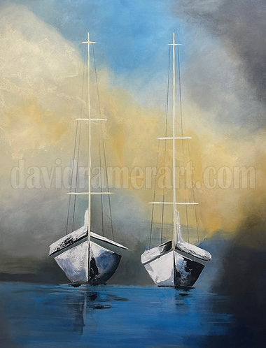 """Sailboats of Summer (48x36x1.5"""") Original acrylic on stretched canvas"""