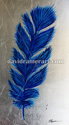 """Blue Feather on Silver Leaf"" (30x15x1.5"") mixed media on canvas"