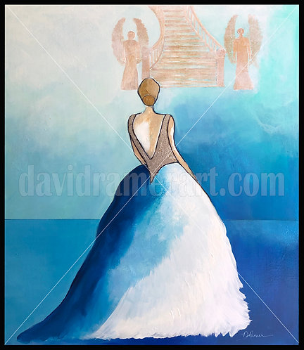 """""""The Invitation"""" (30x24x1.5"""") original acrylic on canvas in black floating frame"""