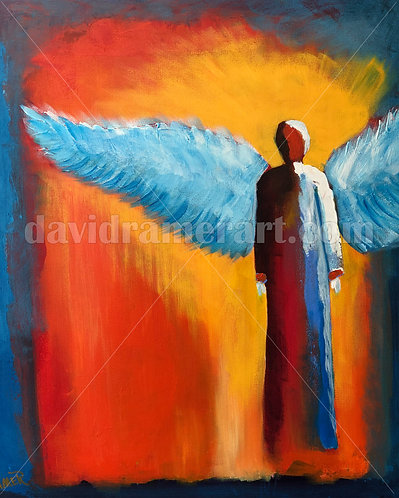 """Angel of Fire"" (30x24x1.5"") original acrylic on canvas"
