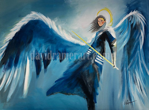 """Archangel Michael"" (40""x30""x1.6"") Original acrylic on stretched canvas"