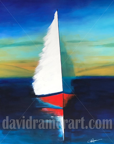 """Red Sailboat (48x36x1.5"""") Original acrylic on stretched canvas"""