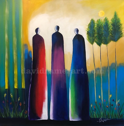 """""""Guardians of the Garden"""" (36x36x1.5"""") Original acrylic on stretched canvas."""