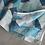 Thumbnail: Robe col Mao fermée sur côté /tons de bleu/coton lin/