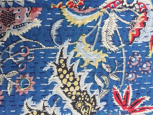 Couvre lit motifs japonisants surpiqué (bed cover) fond bleu