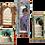 Thumbnail: Lot de 4 miroirs indiens en bois patine ancienne type oriental/arabesque
