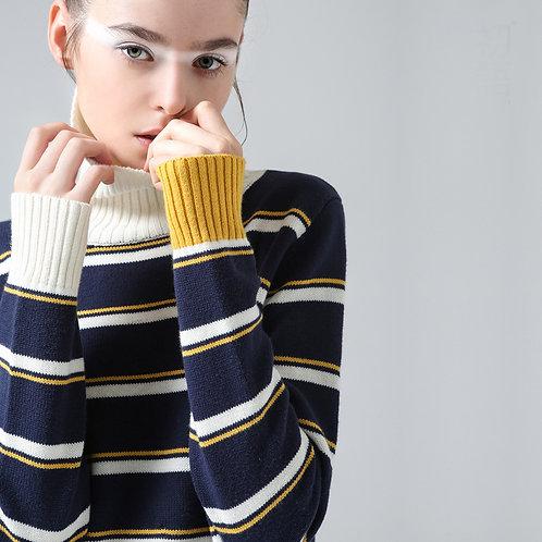 Chandail Hiver Nouvelle Raie De Mode Femmes Manches Longues Slim Casual Col Roulé Pulls Chandails