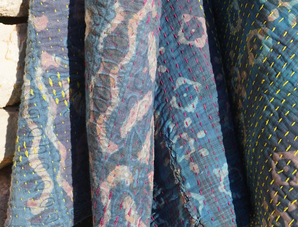 Plaid vintage/bohème chic/couvre lit caravane/tissus Paris/Jamini tissus/plaid shibori/indian bedcover/vintage bedspread