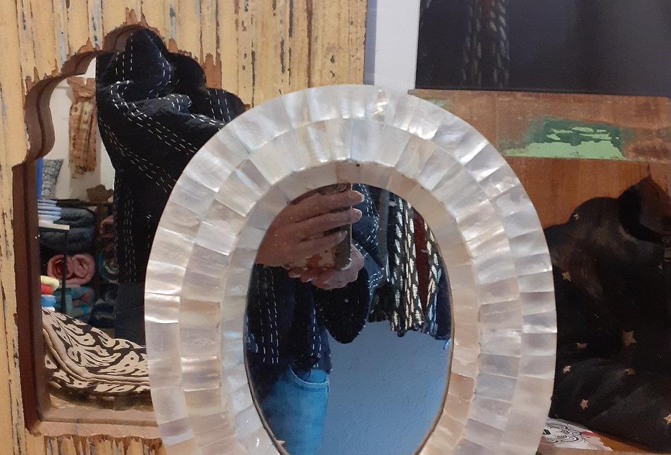 Joli miroir indien nacre/style oriental/miroir bois arabisant/bois recyclé