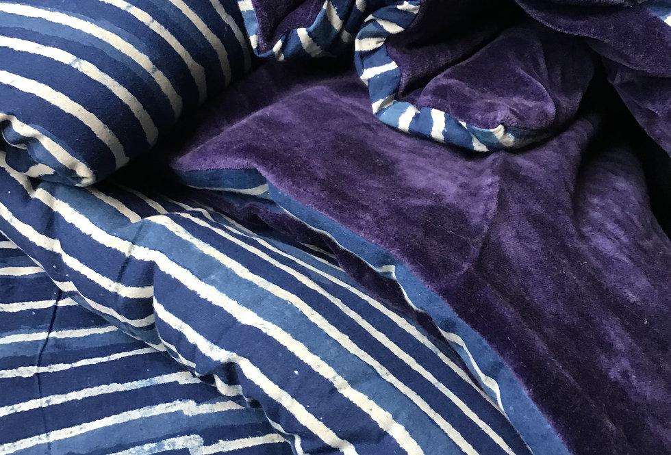 edredon coton/ édredon velours/édredon réversible/tissu Figeac/édredon caravane/édredon delamaison/La maison générale/ plaid/