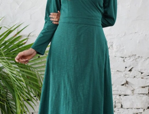 Robe cache coeur unie manches longues /turquoise/coton lycra/col v/
