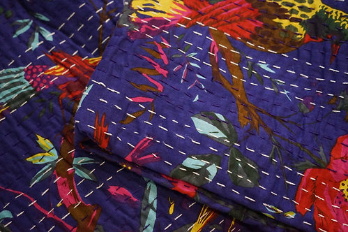 couvre lit violet/courtepointe/bouti jaune/bouti oiseaux/couvre lit indien/orange quilt bed cover/orange bedcover/tissus