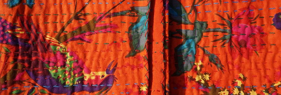 couvre lit/tissu/fait main/imprimé/oiseaux/birds/fleurs/flowers/coverbed/linge/maison/figeac/paris/
