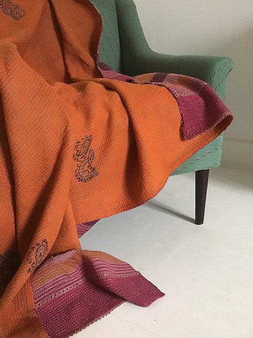 plaid orange/plaid ancien/plaid vintage inde/plaid caravane/plaid vintage caravane/plaid inde/pliad indien/indian plaid