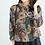 Thumbnail: Chemise à manches longues /top coton et lin/col en V/ample/2 motifs