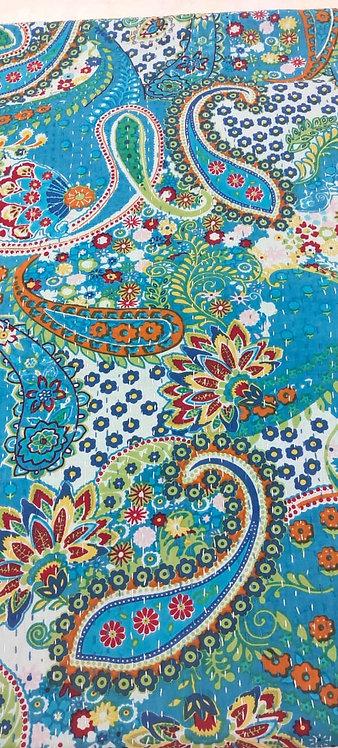 Couvre lits motif cachemire bleu turquoise