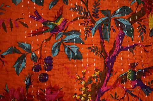 couvre lit orange vif/courtepointe/bouti orange/bouti oiseaux/couvre lit indien/orange quilt bed cover/orange bedcover/tissus
