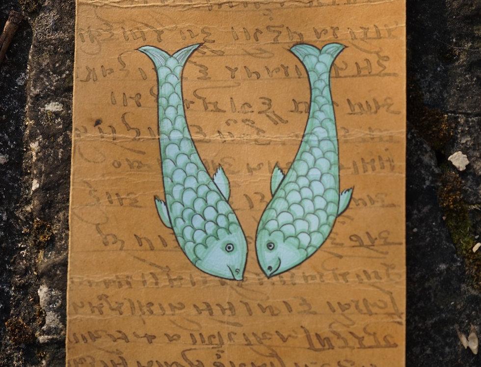 carte postale/ancienne/inde/Rajasthan/Bundi/miniature/dessin/signe/artisanat/poisson/zodiaque/figeac/Paris/Lyon/Bordeaux