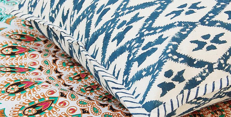 Housse de coussin bleu blanc motif géométrique Pilow cover
