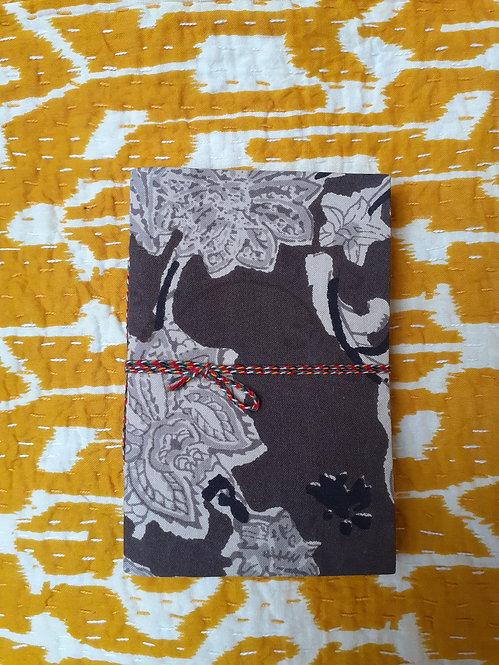 Petit carnet tissu/papier recyclé/motif indien