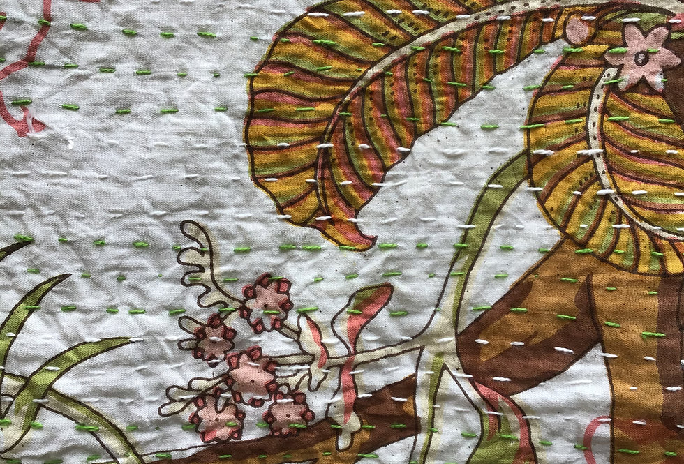 Couvre lit (bedcover) motif japonisant blanc et orange
