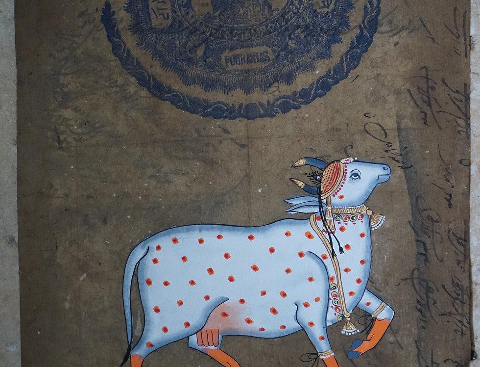 miniature indienne/sacred cow/vache sacrée/miniature peinte indienne/meubles indiens/artisanat Inde/art indien/miniature Inde