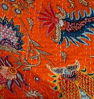 Couvre lit motif japonisant orange