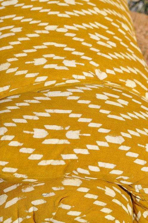 Matelas 180X75 motifs  losanges jaune safran/matelas de sieste