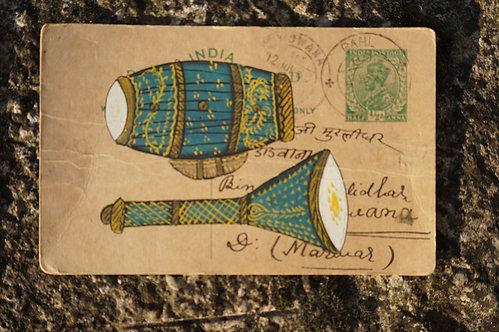 carte postale/ancienne/inde/Rajasthan/Bundi/miniature/instrument/peinture/artisanat/musique/tabla/figeac/Paris/Lyon/Bordeaux