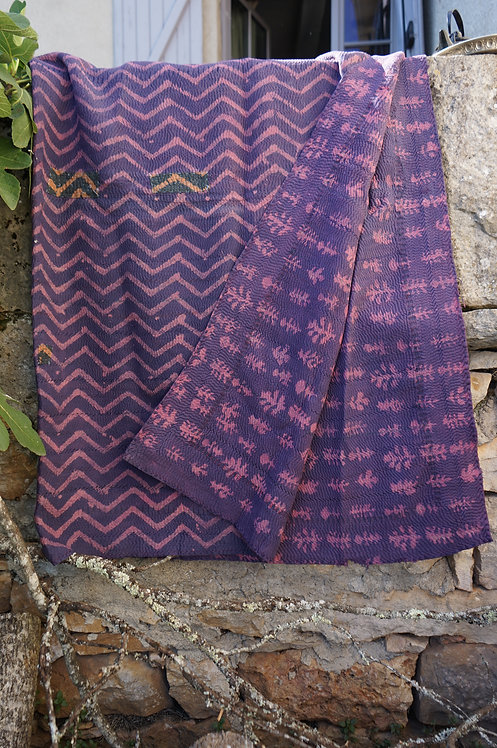 Tissu bouti shibori fabric Figeac Toulouse Paris Linge de maison couverture plaid tenture bedthrow bedcover sensitive vintage