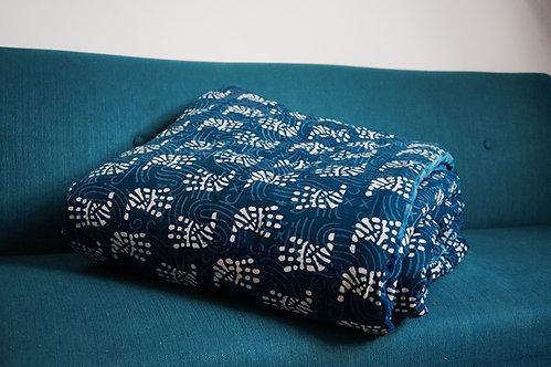 Edredon velours bleu nuit réversible coton motif impression block prints