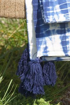 Plaid shibori bleu électrique