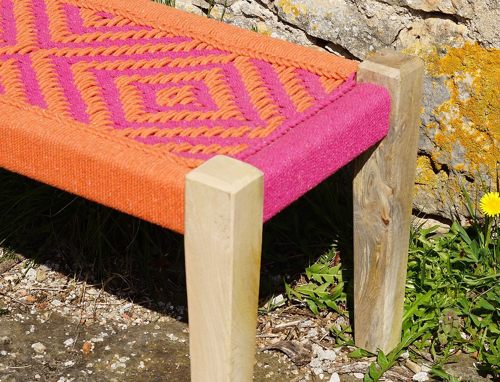 Banc charpoy, 80 x 40 x 40 cm, rose et orange, pieds droits, banquette indienne