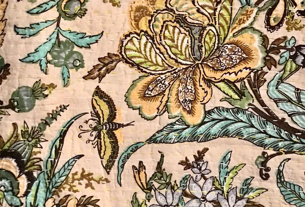 Couvre lit fleurs (bedcover) motif  anglais blanc et orange