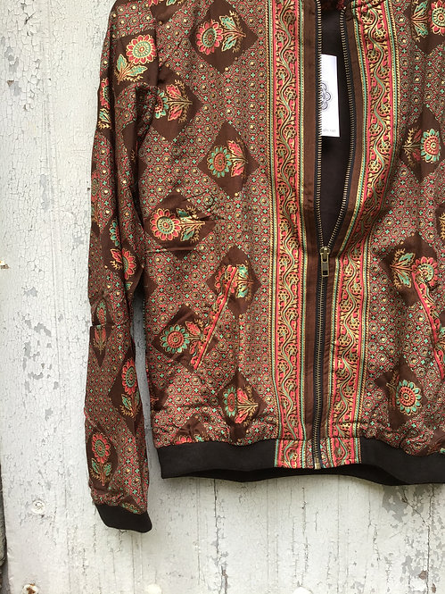 Bomber homme sari/bomber sari/bomber soie/veste tissu Inde/bomber ethnic chic/bomber homme soie/veste soie/blouson homme soie