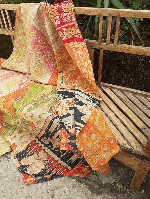 Plaid ou jeté de lit vintage 468F bohème chic