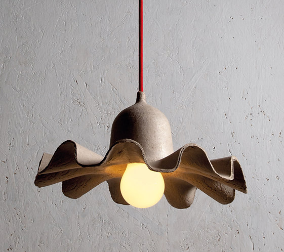 Egg of Columbus  Ceiling Lamp #1 Natural Ceiling Lamp  Design: Valentina Carretta / Fabrica  Material: Recycled paper, cerami