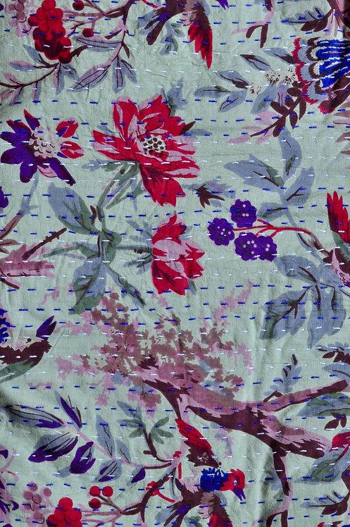 couvre lit motif oiseaux/Jamini couvre lit/plaid indien/bouti indien/jeté de lit indien/couvre lit seventies/bedspread