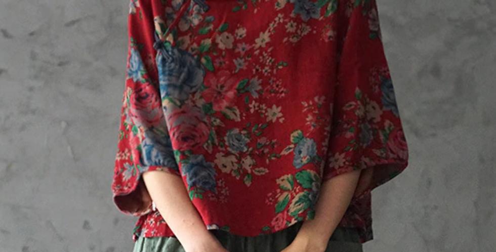 Top fermeture chinoise manches longues /top coton et lin/col haut/ample/4 couleurs