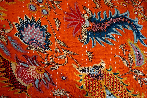 couvre lit motif paisley/Jamini couvre lit/couvre lit orange vif/jeté de lit indien/couvre lit seventies/bedspread