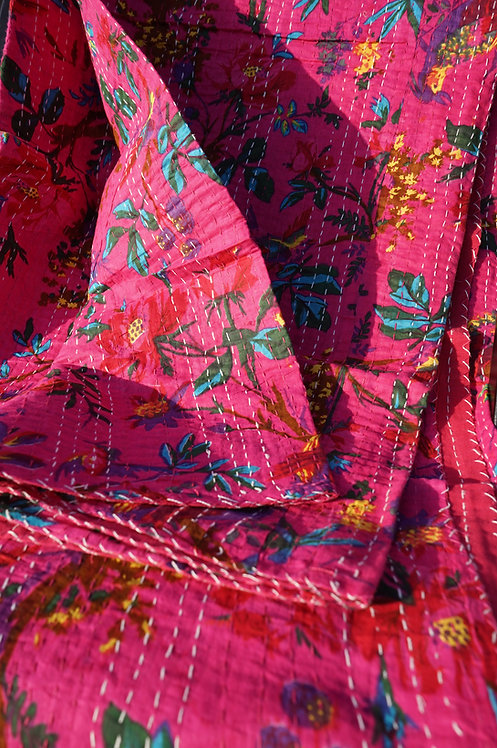 couvre lit bohème chic/couvre lit caravane/pink bed cover with birds/couvre lit indien/indian bedcover/bedspread/Figeac/