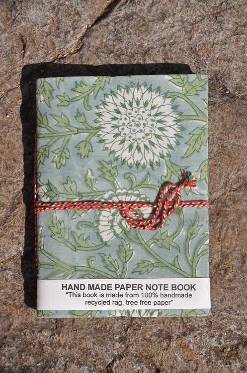 Carnet tissu/papier recyclé/motif indien