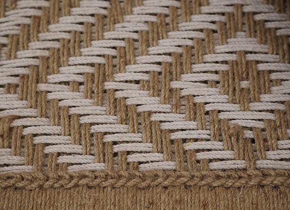 CHARPOY NATUREL ET BLANC, lit traditionnel indien L190 cm, tressage corde