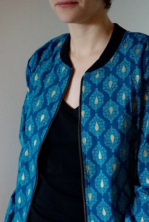 bomber coton/bomber/bomber jacket/gold jacket/bomber bleu et or/gold and blue jacket/vêtements Figeac/boutique Figeac/