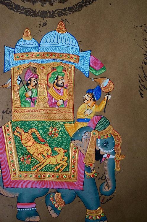miniature indienne/palanquin/maharajah/miniatures peintes indiennes/meubles indiens/artisanat Inde/art indien/miniature Inde
